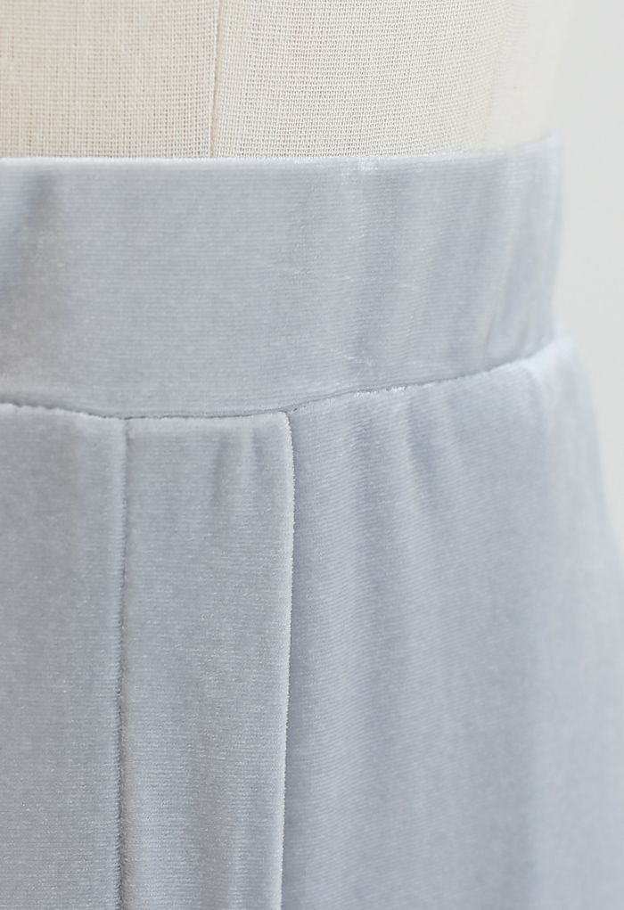 Side Pockets High Waist Velvet Pants in Grey