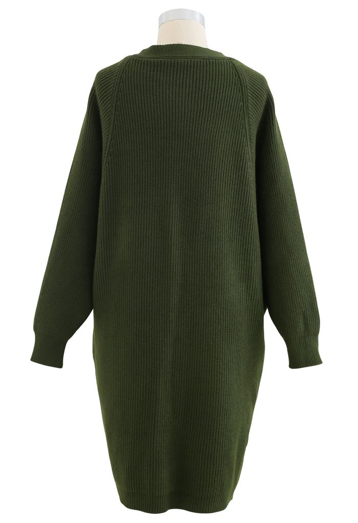 Batwing Ribbed Knit Longline Cardigan in Green