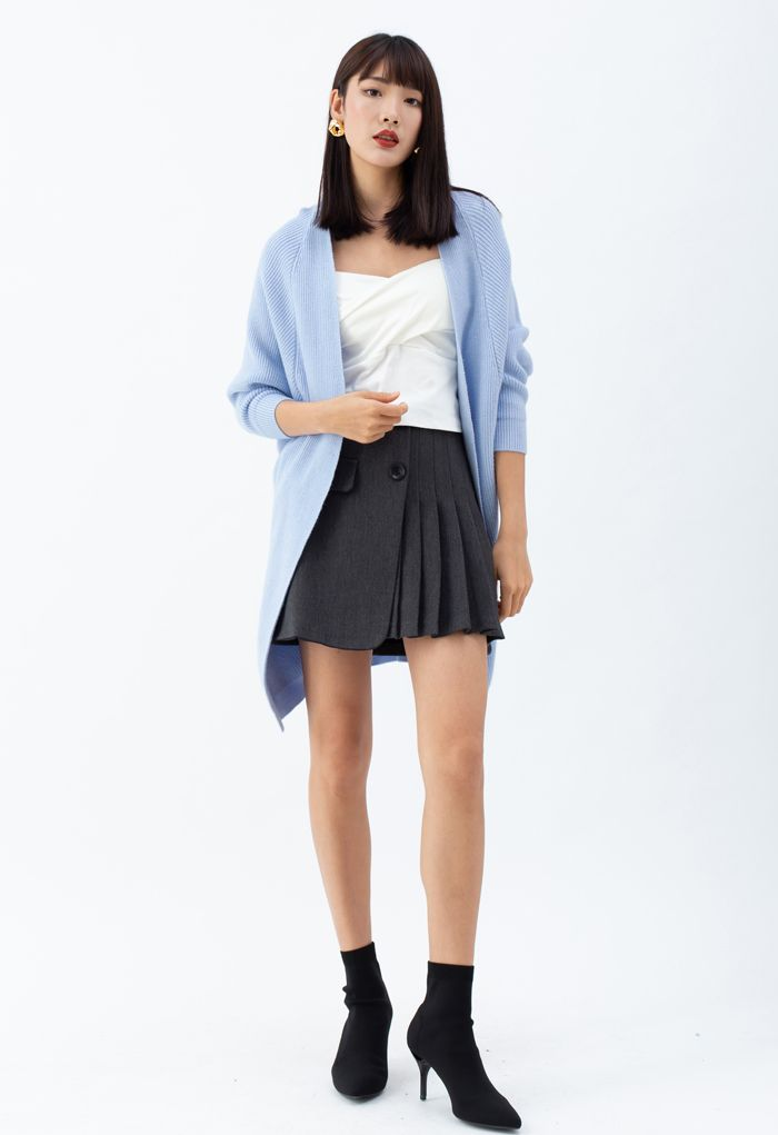 Batwing Ribbed Knit Longline Cardigan in Baby Blue