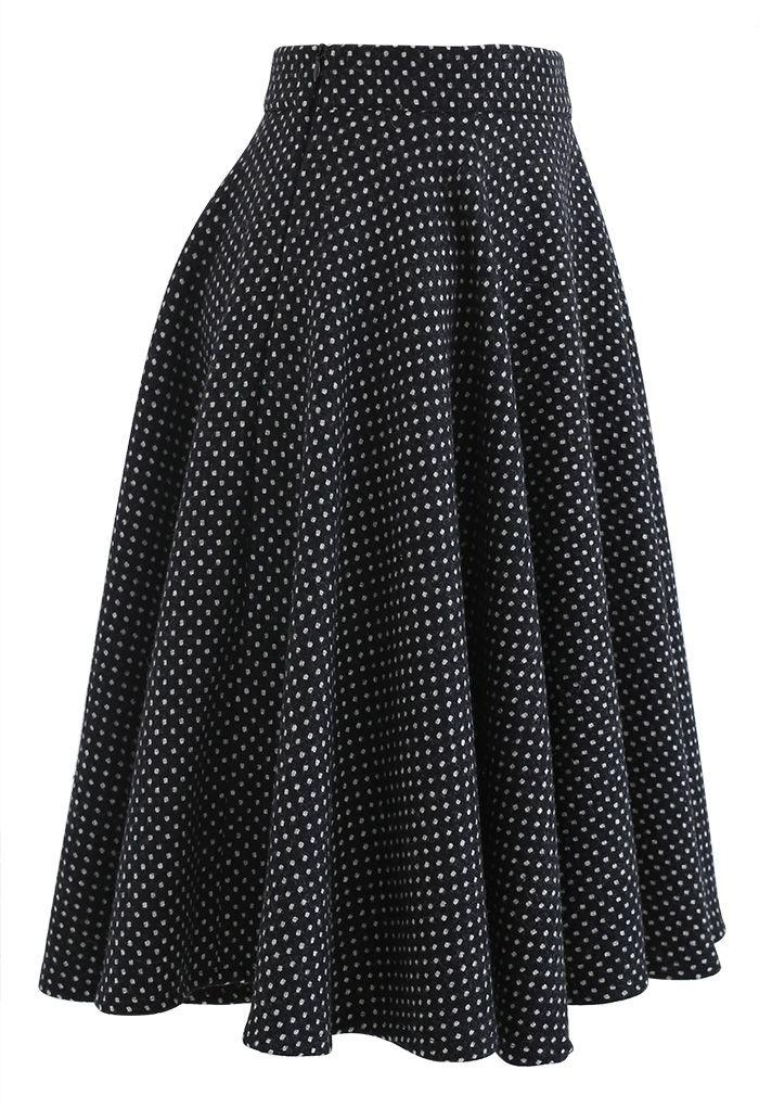 Polka Dots Wool-Blend Flare Skirt