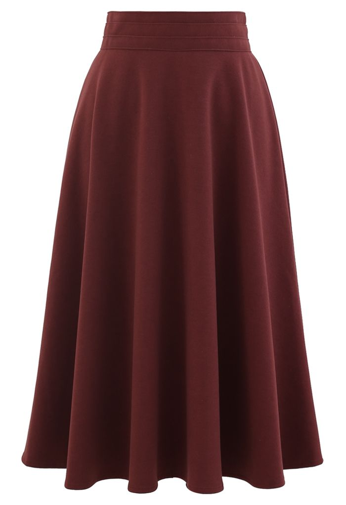 High Waist A-Line Flare Midi Skirt in Red