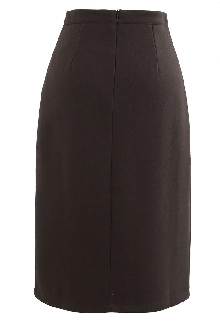 Side Slit Midi Pencil Skirt in Brown