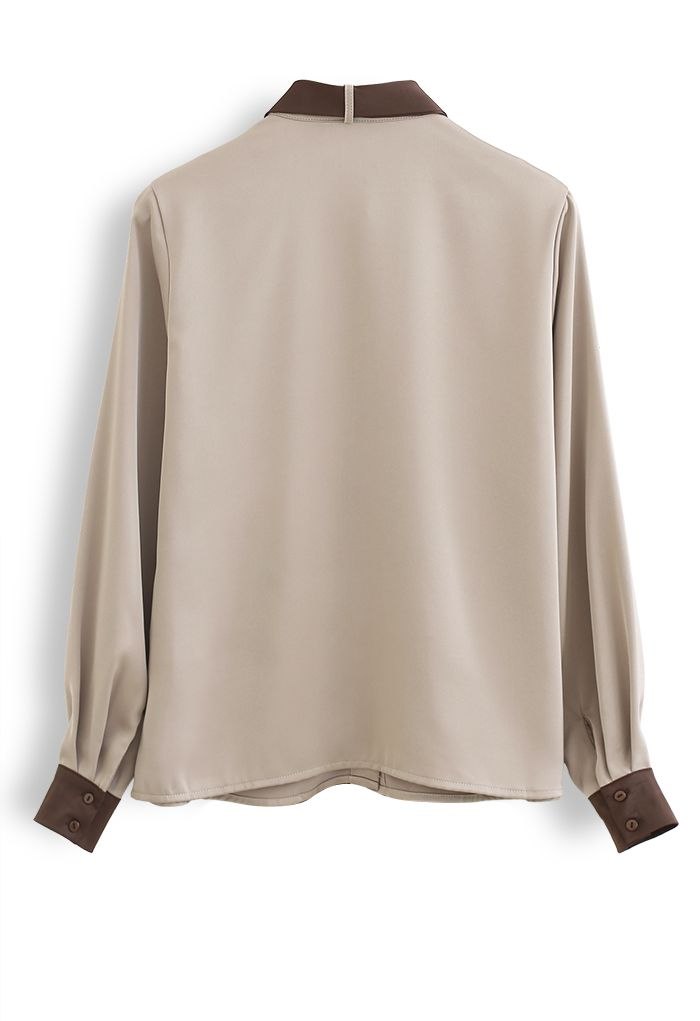 Bow Tie Neck Satin Button Down Shirt in Light Tan