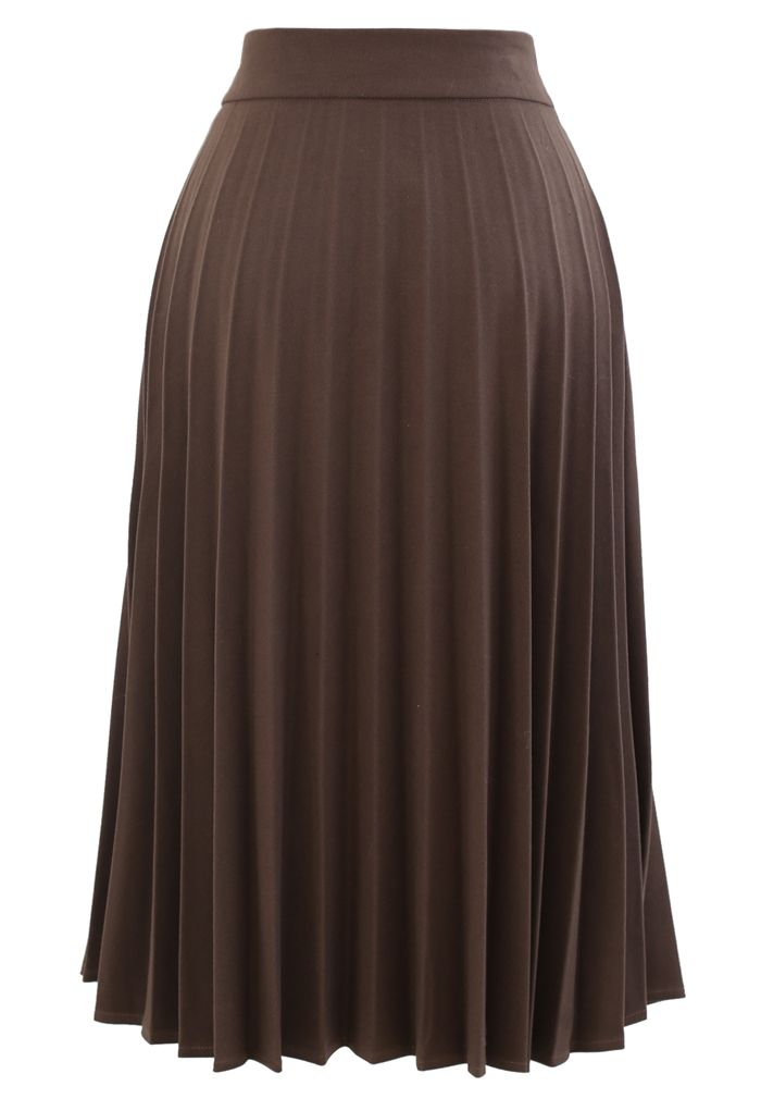 Horsebit Trims Wool-Blend Pleated Midi Skirt in Brown