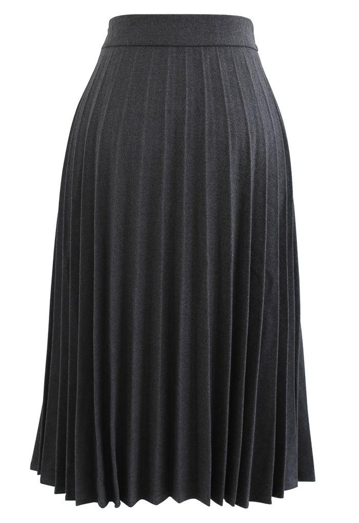 Horsebit Trims Wool-Blend Pleated Midi Skirt in Grey