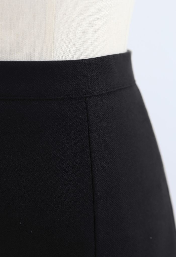Side Slit Midi Pencil Skirt in Black