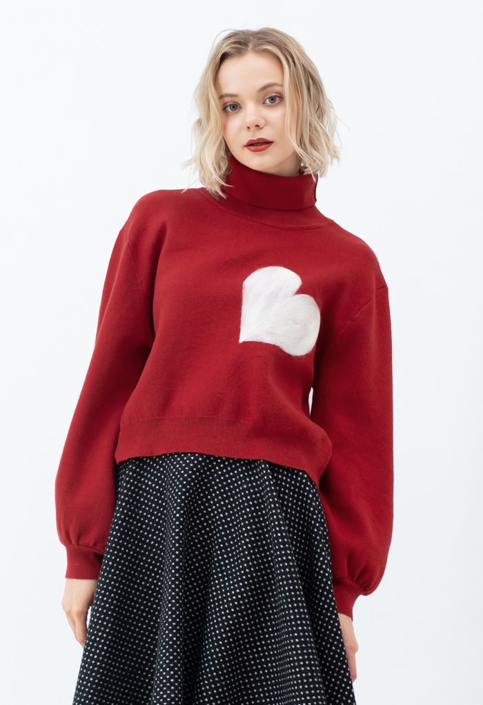 Embroidered Heart High Neck Knit Sweater in Red