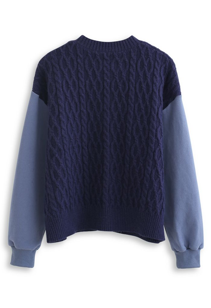 Braid Knit Spliced Sleeves Buttoned Cardigan in Navy