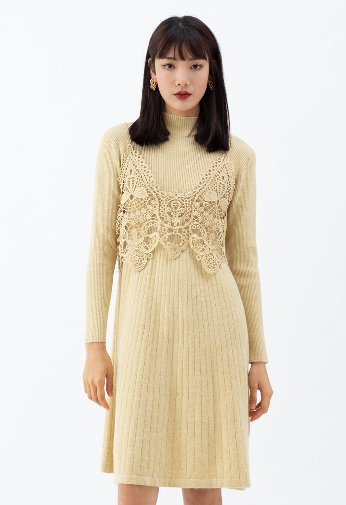 Crochet Mock Neck Knit Twinset Dress in Yellow