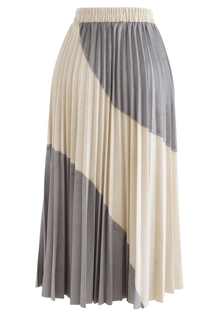 Velvet Color Blocked Pleated Midi Skirt in Grey