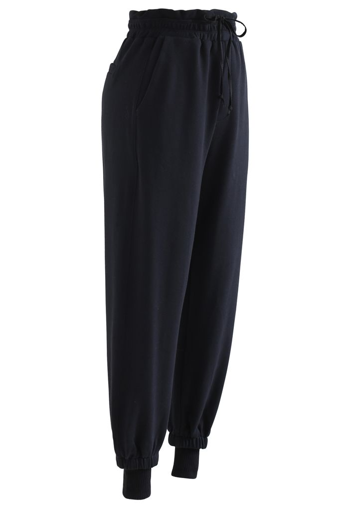 Cuffed Hem Drawstring Pockets Joggers in Black