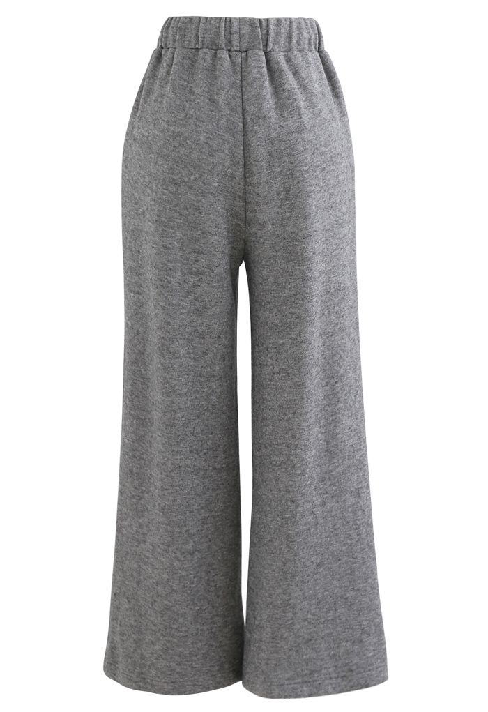 Soft Touch Drawstring Knit Pants in Grey