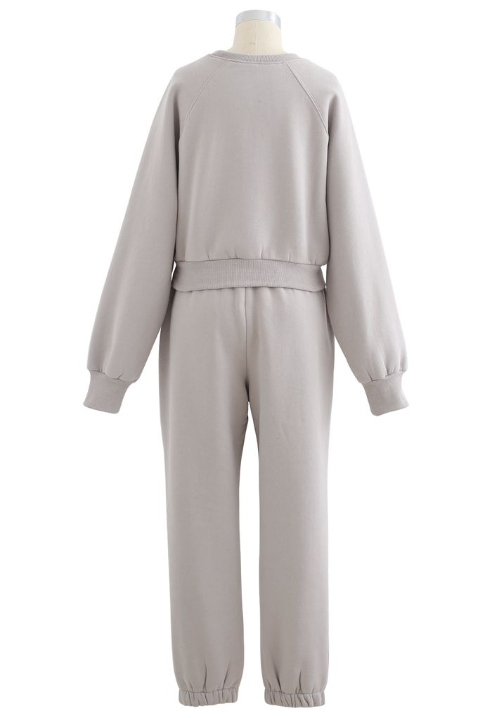 Twisted Crop Sweatshirt and Joggers Set in Taupe
