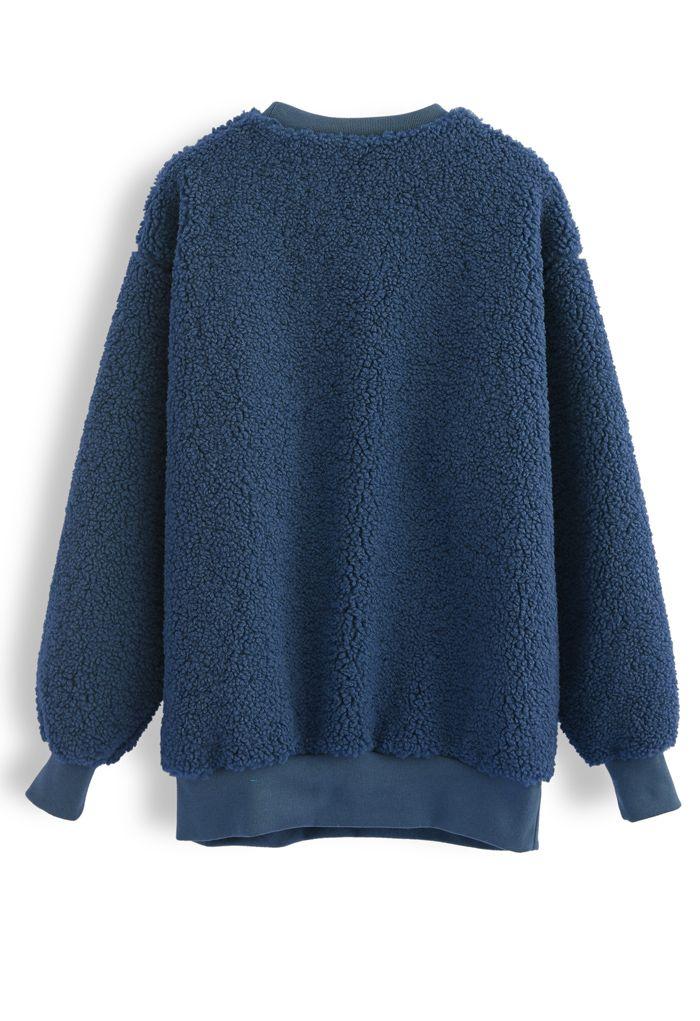 Sherpa Oversized Pullover in Navy