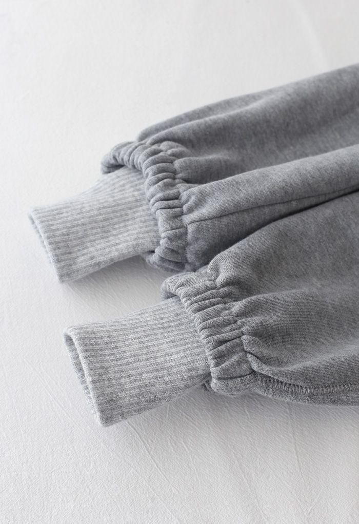 Cuffed Hem Drawstring Pockets Joggers in Grey