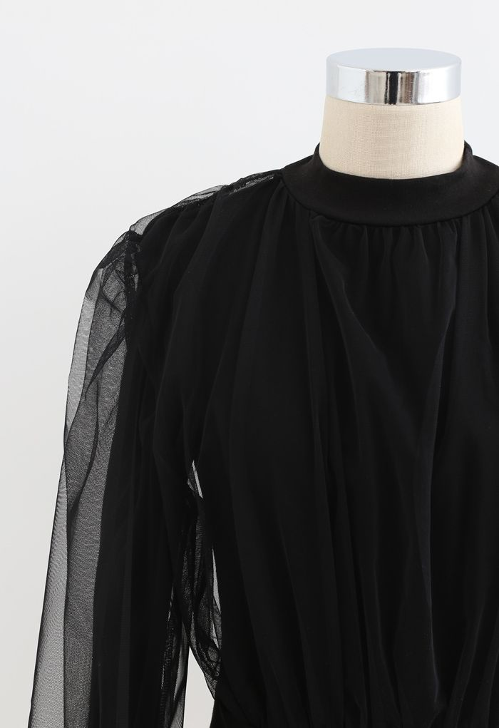 Sheer Mesh Overlay Ribbed Knit Top in Black