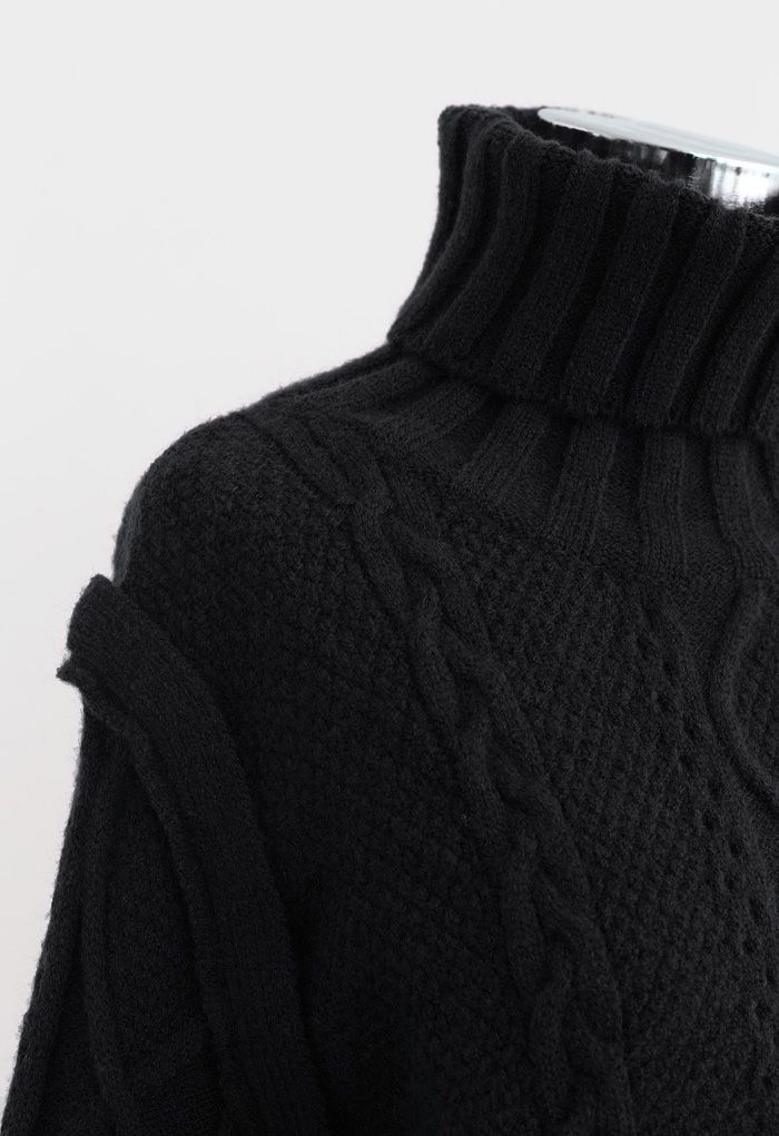 Panel Turtleneck Crop Cable Knit Sweater in Black