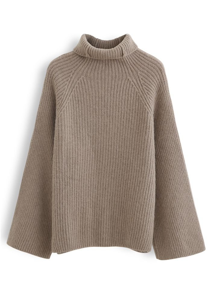Bell Sleeves Turtleneck Knit Sweater in Brown