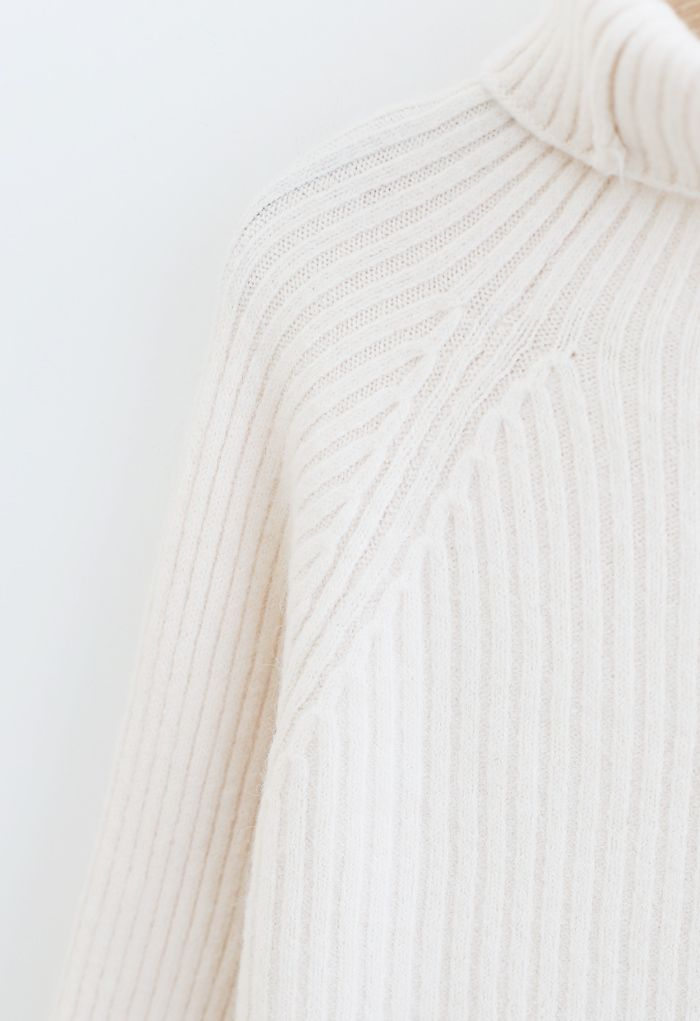 Bell Sleeves Turtleneck Knit Sweater in Ivory
