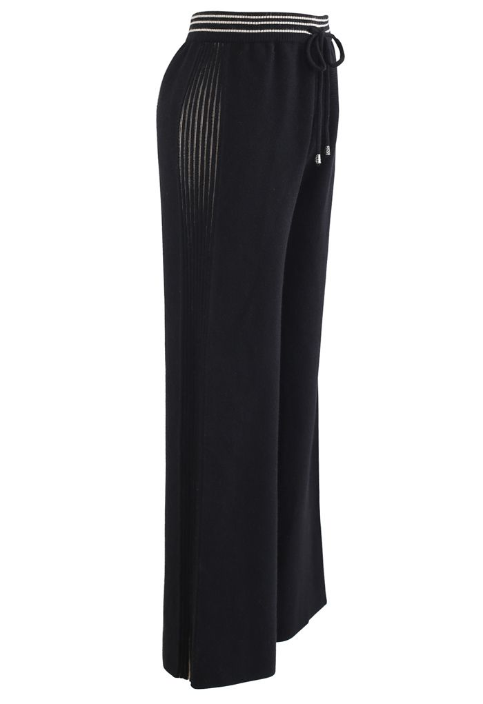 Contrasted Side Drawstring Rib Knit Pants in Black