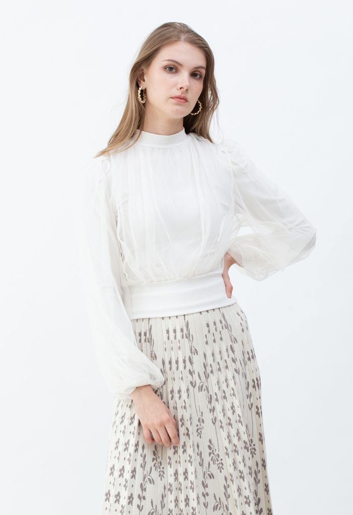 Sheer Mesh Overlay Ribbed Knit Top in White