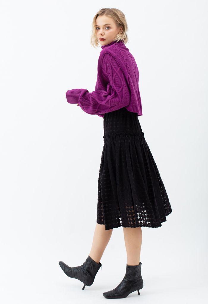 Full Circle Embroidered Organza Midi Skirt in Black