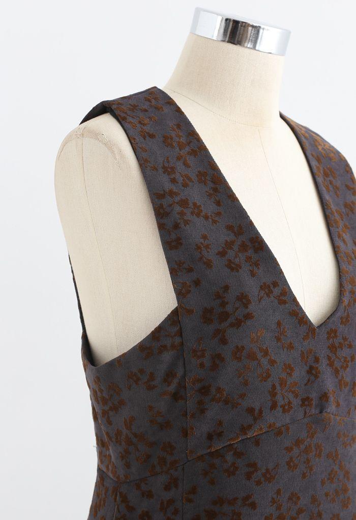 Embossed Floret V-Neck Sleeveless Dress in Smoke