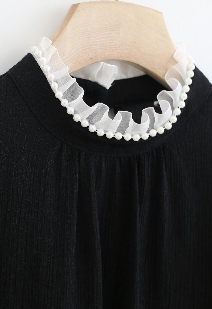 Glittery Ruffle Neck Pearls Trim Top in Black