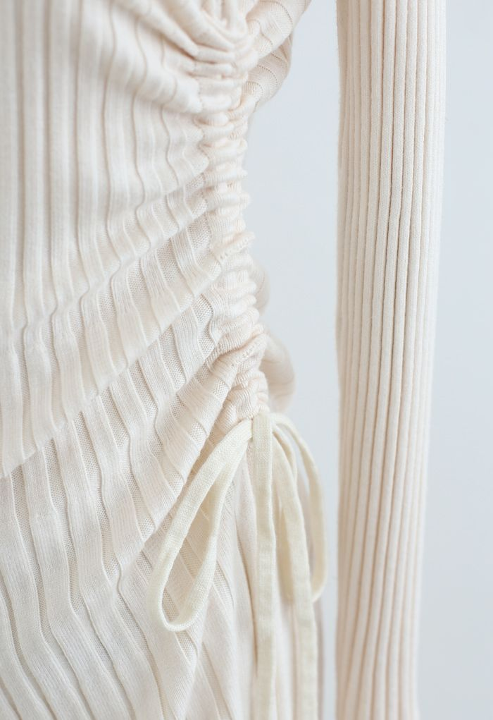 Side Drawstring Ribbed Knit Midi Dress in Ivory
