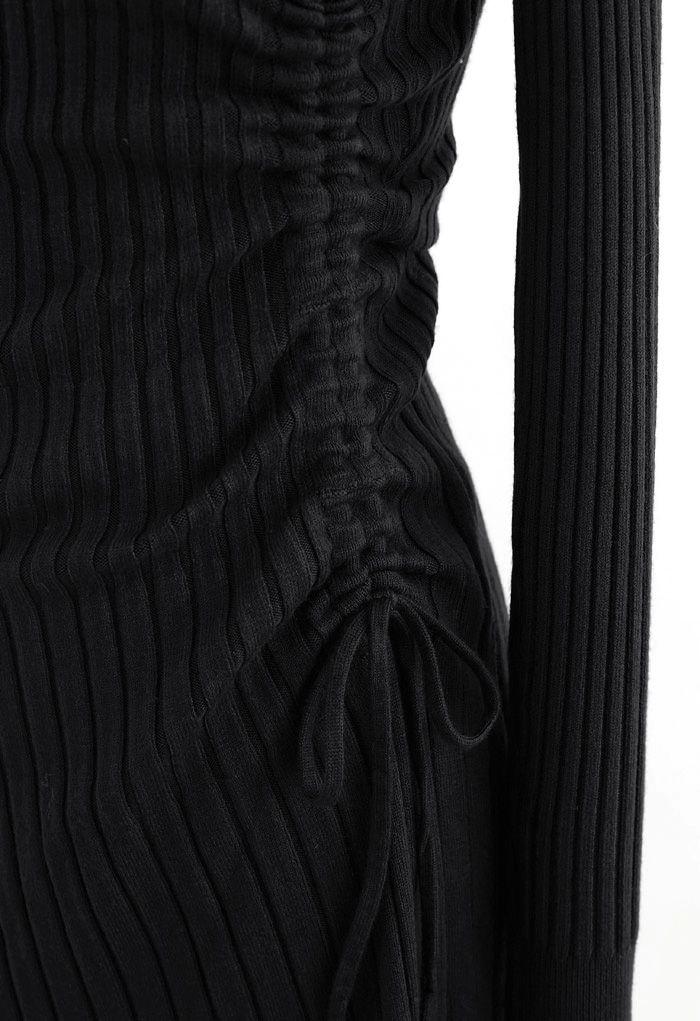 Side Drawstring Ribbed Knit Midi Dress in Black