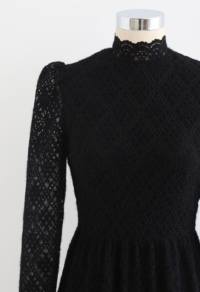 Fuzzy Full Floret Lace Mock Neck Dress in Black