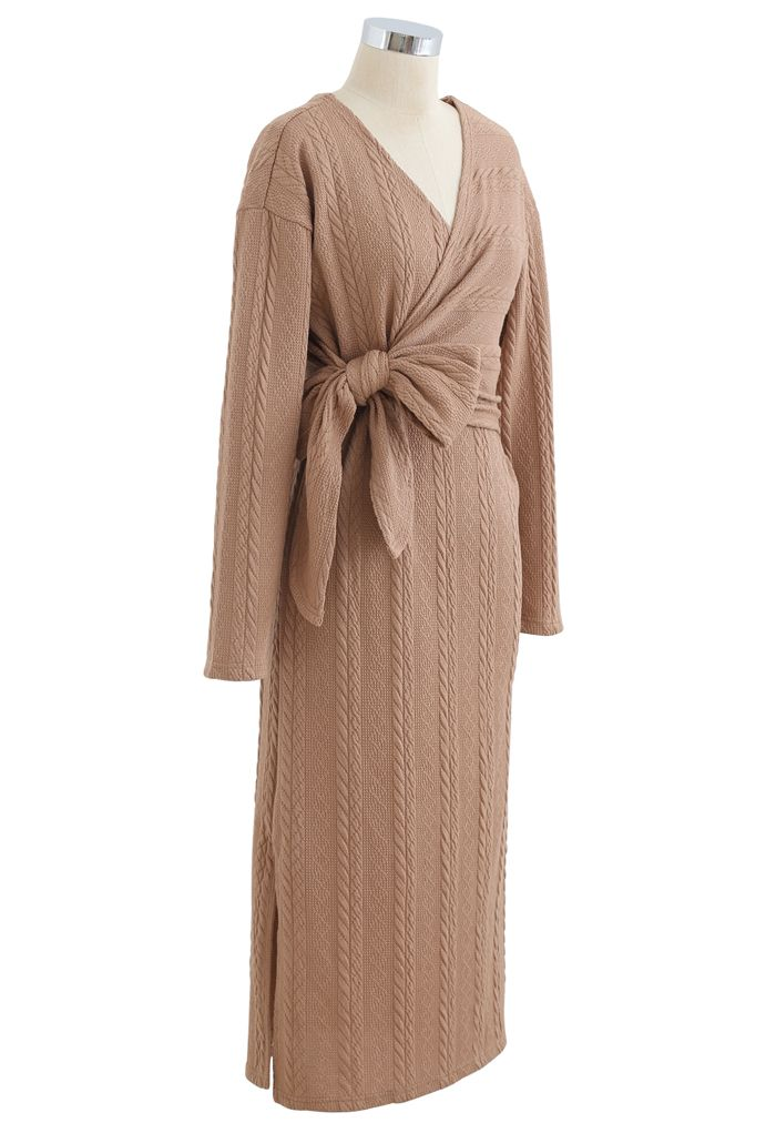 Braid Embossed Wrap Bowknot Slit Knit Dress in Coral