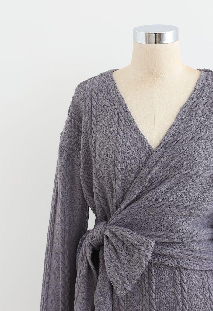 Braid Embossed Wrap Bowknot Slit Knit Dress in Grey