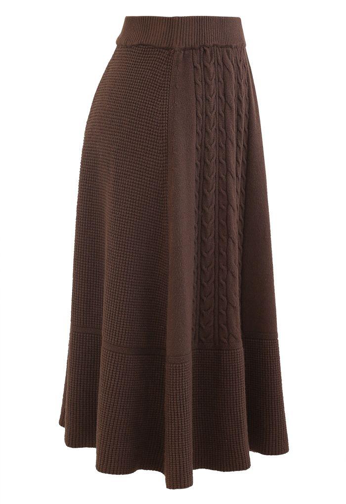 Braid Texture Soft Knit A-Line Midi Skirt in Brown