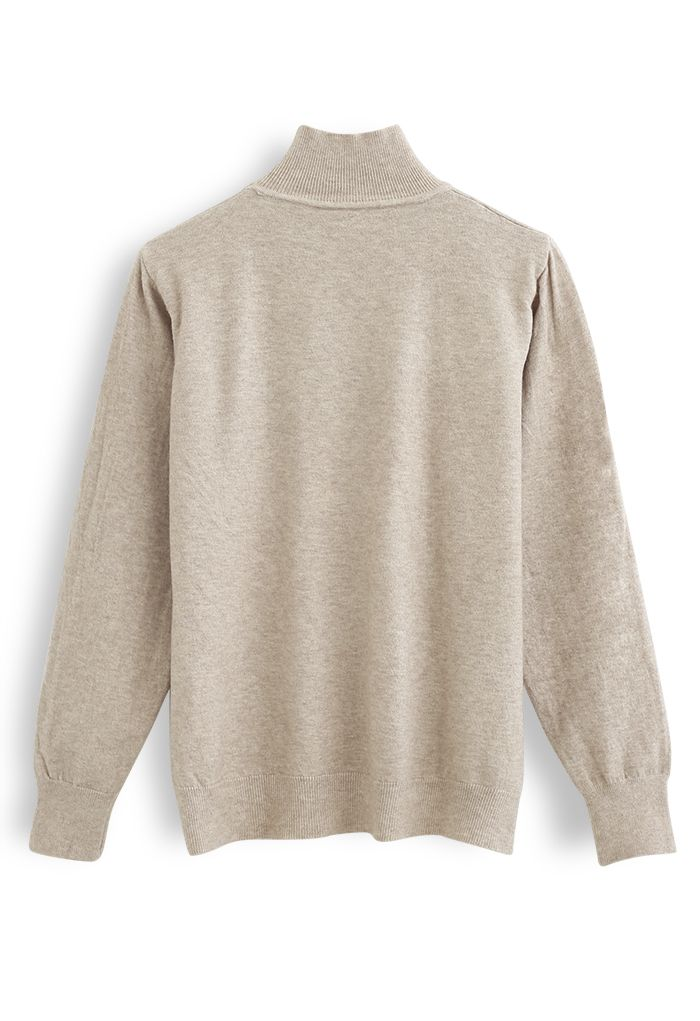 Basic High Neck Knit Top in Sand