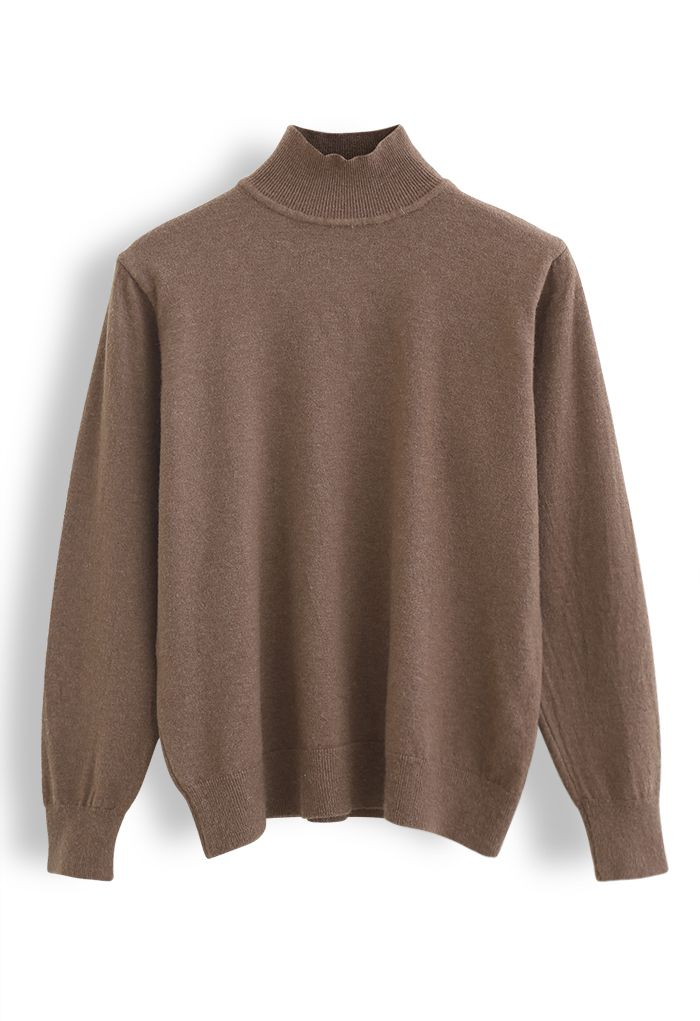 Basic High Neck Knit Top in Brown