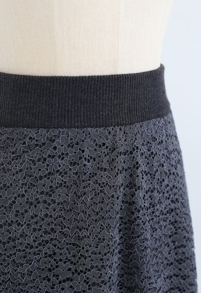Floret Lace Knit Reversible Midi Skirt in Grey