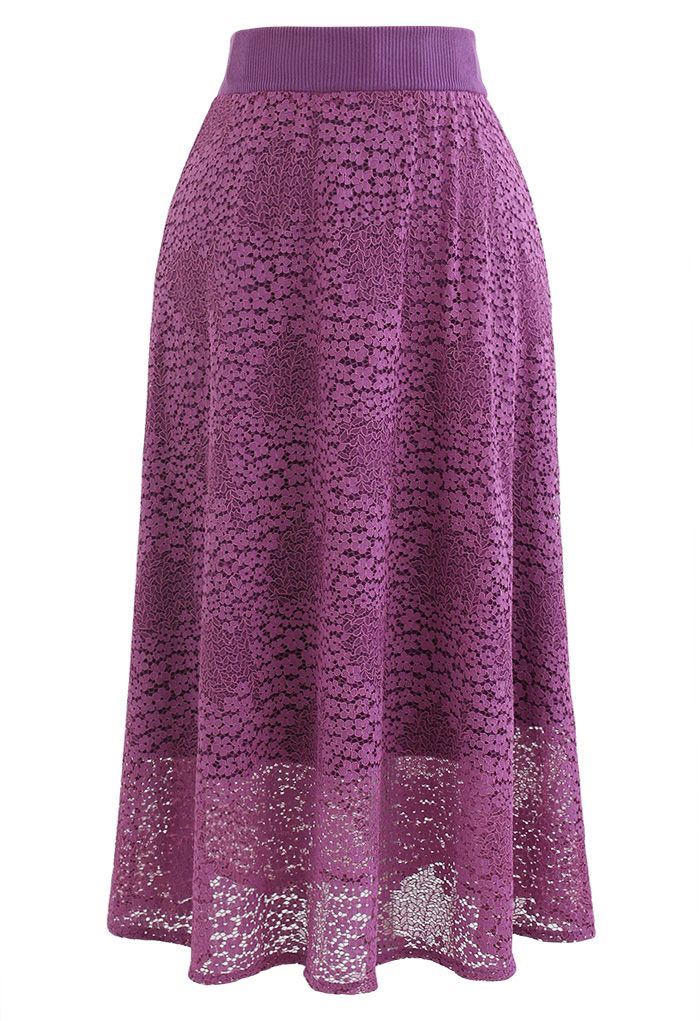 Floret Lace Knit Reversible Midi Skirt in Magenta