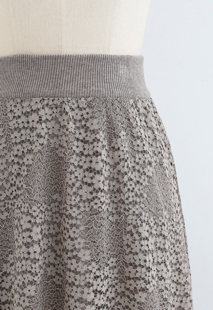 Floret Lace Knit Reversible Midi Skirt in Taupe