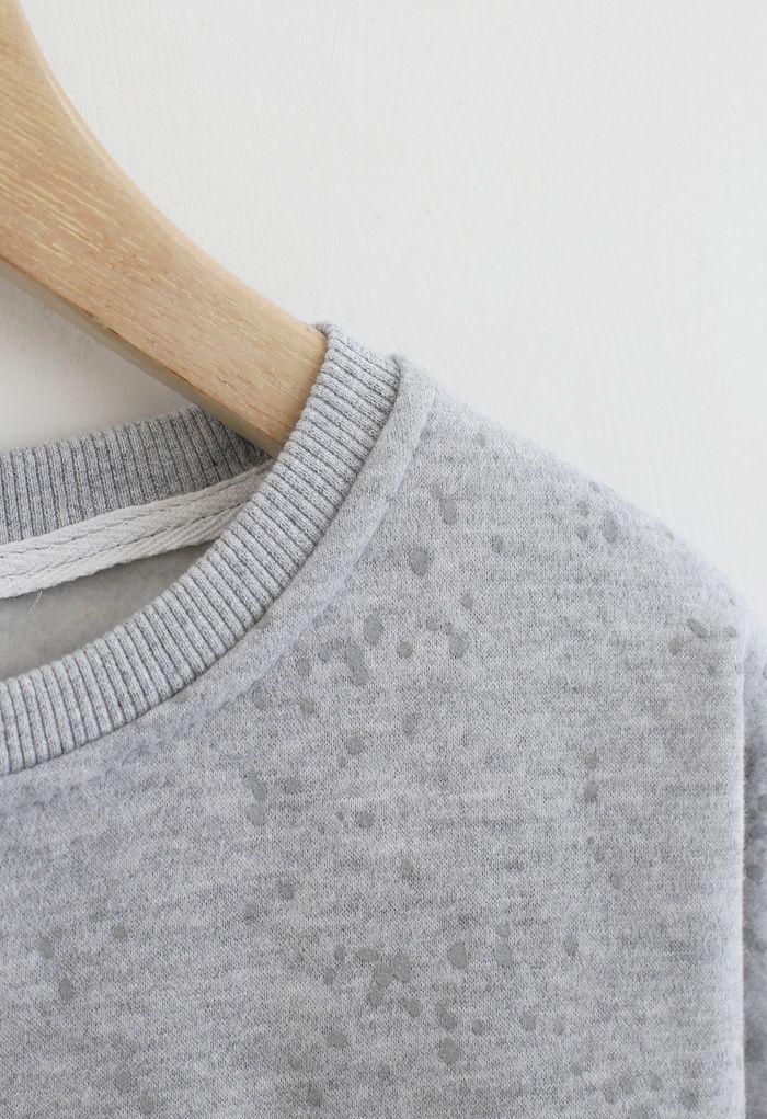 Spotted Fleece Sweatshirt in Grey