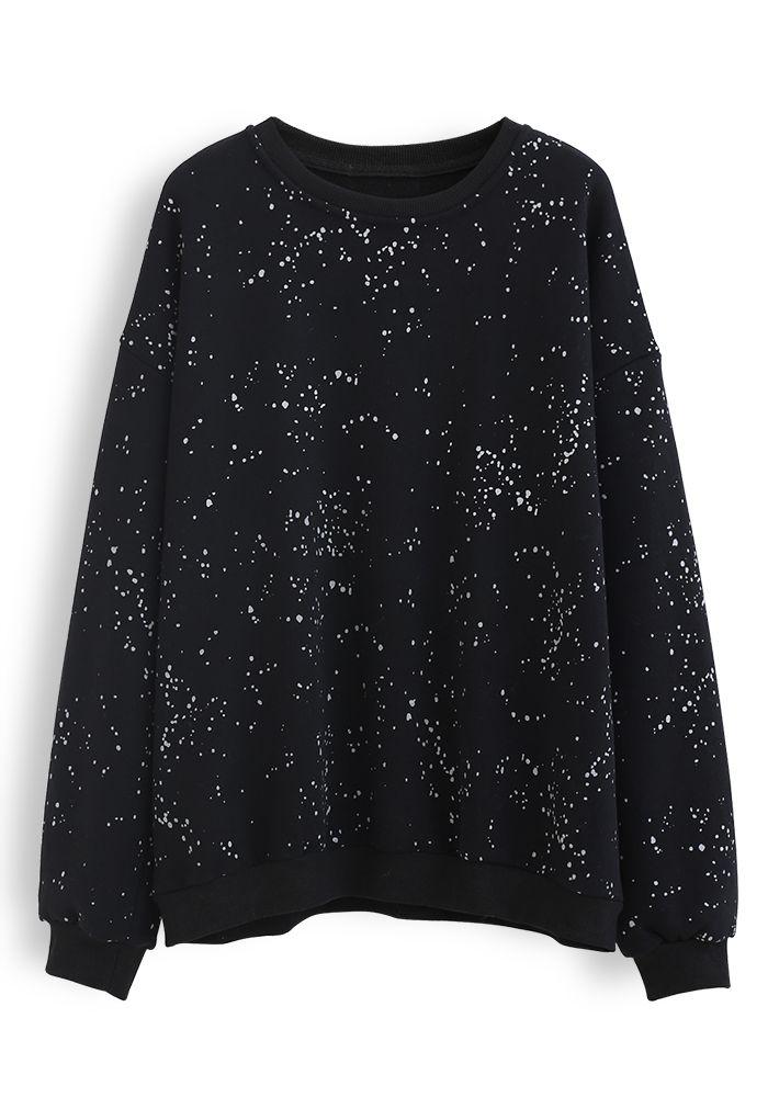 Spotted Fleece Sweatshirt in Black