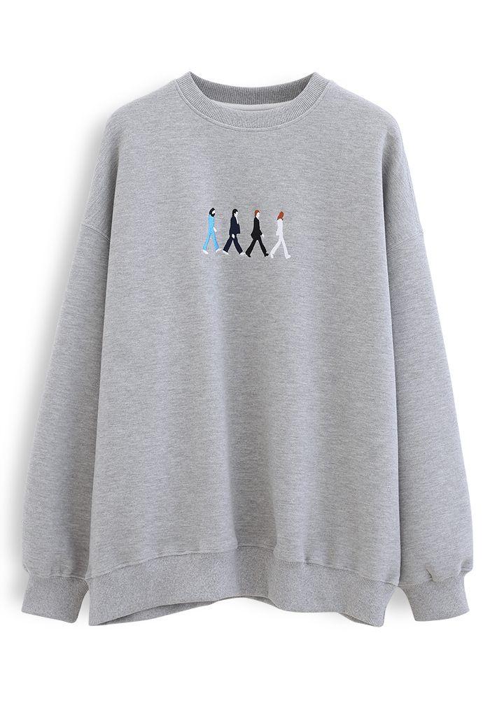 Grey Embroidered Crew Neck Sweatshirt
