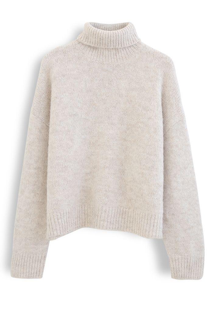 Chic Turtleneck Fuzzy Knit Sweater in Linen