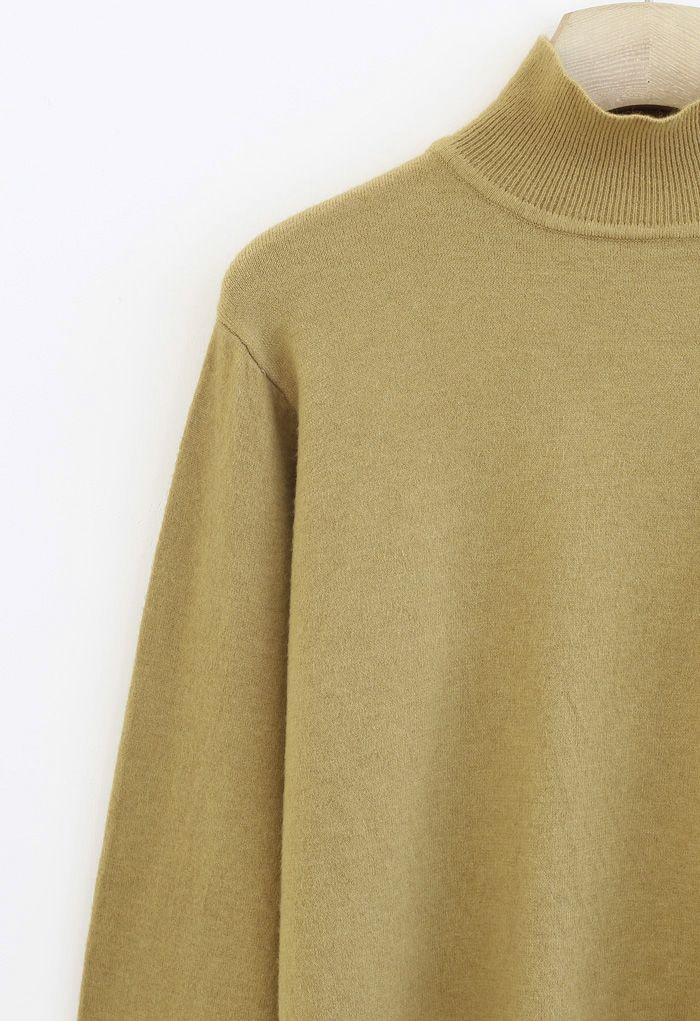 Basic High Neck Knit Top in Mustard