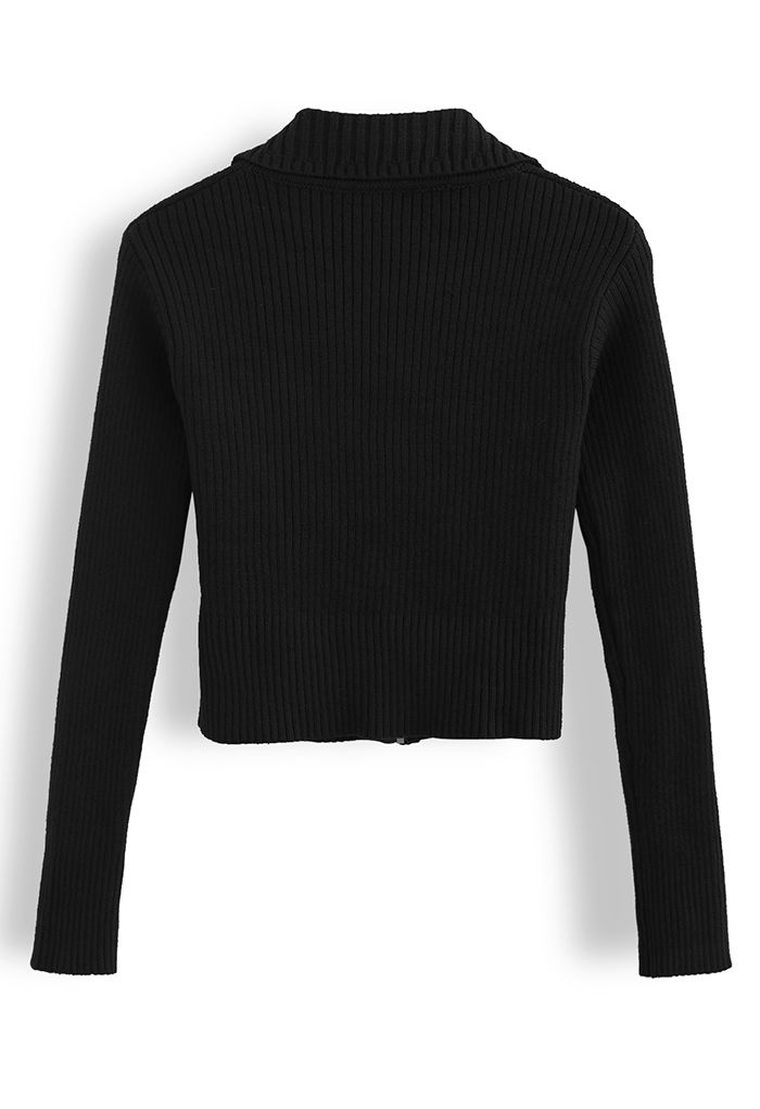 Collared Zipper Rib Knit Crop Top in Black