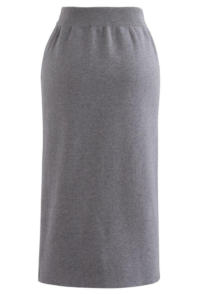 Golden Chain Waist Slit Pencil Knit Skirt in Grey