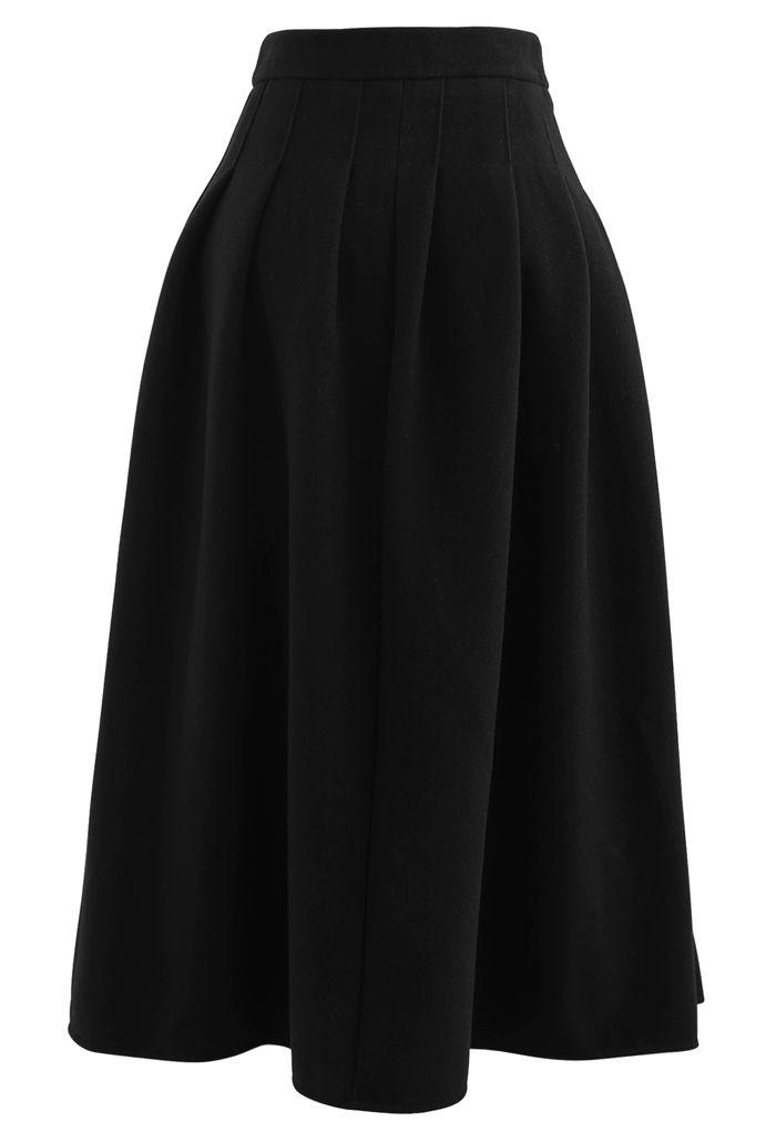 Pleated Wool-Blend Midi Skirt in Black