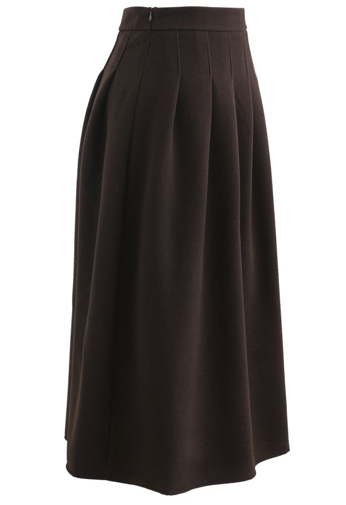 Pleated Wool-Blend Midi Skirt in Brown