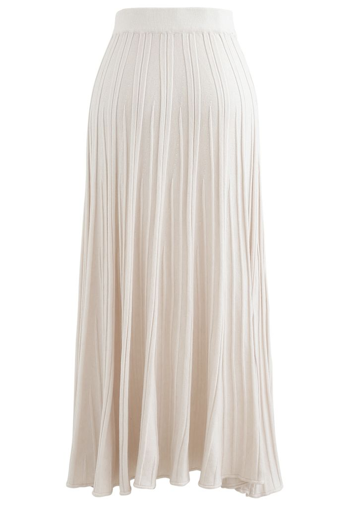 Solid Pleated Knit Skirt in Ivory