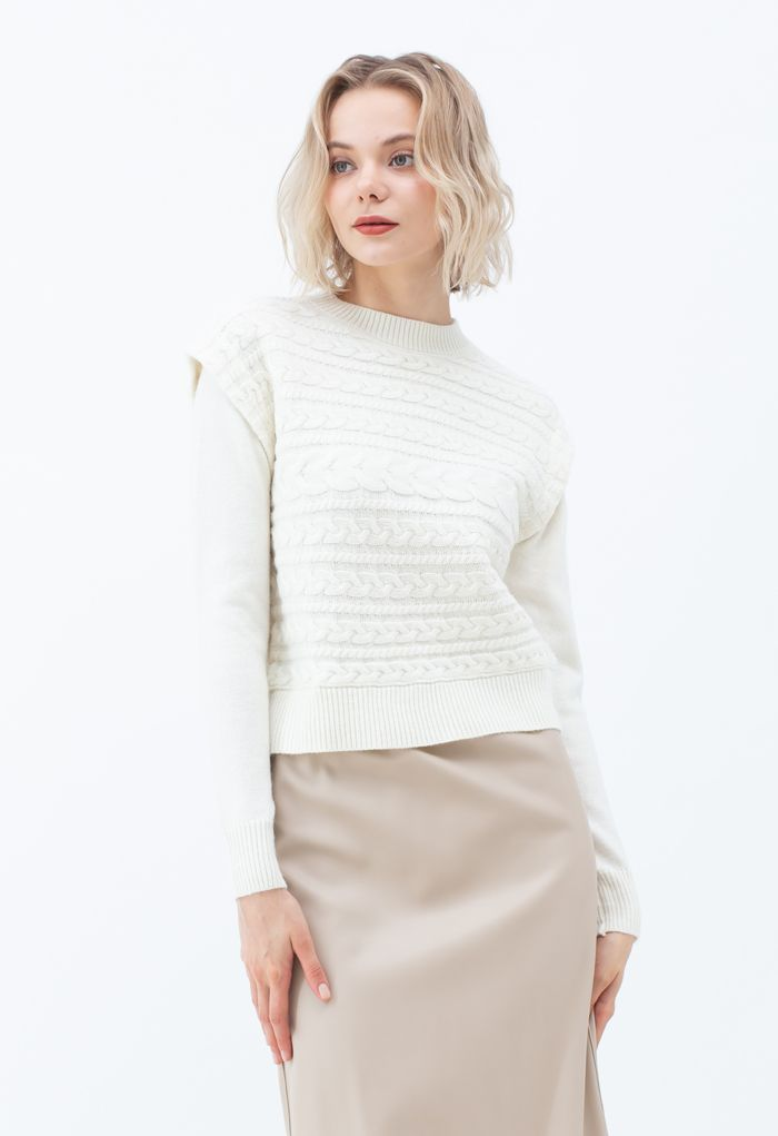 Crew Neck Braid Knit Sweater in Ivory